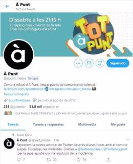 Cuenta de Twitter de À Punt restablecida