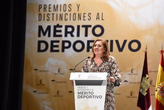La consejera de Educación, Cultura y Deportes de C-LM, Rosa Ana Rodríguez, durante la entrega de los Premios y Distinciones al Mérito Deportivo de Castilla-La Mancha