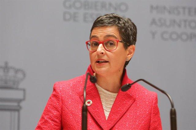 La nueva ministra de Asuntos Exteriores, Unión Europa y Cooperación, Arancha González Laya, durante su intervención en el acto de toma de posesión de su cargo en el Palacio de Santa Cruz de Madrid (España), a 13 de enero de 2020.  .