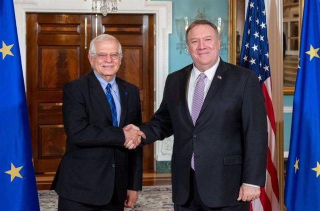 El Alto representante de la Unión Europea para Asuntos Exteriores y Política de Seguridad, Josep Borrell, y el secretario de Estado de Estados Unidos, Mike Pompeo.