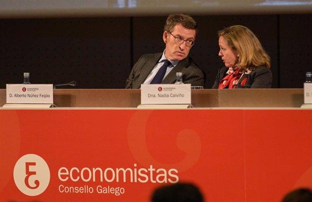 Acto de entrega del Premio Economía con la vicepresidenta económica del Gobierno Nadia Calviño y el presidente de la Xunta de Galicia, Alberto Núñez Feijóo, en A Coruña, el 7 de febrero de 2020.
