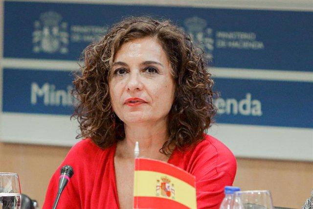 La ministra de Hacienda, María Jesús Montero, presidiendo el Consejo de Política Fiscal y Financiera (CPFF) en el Ministerio de Hacienda, en Madrid (España) a 7 de febrero de 2020.