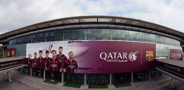 Façana de l'estadi del Futbol Club Barcelona, el Camp Nou.