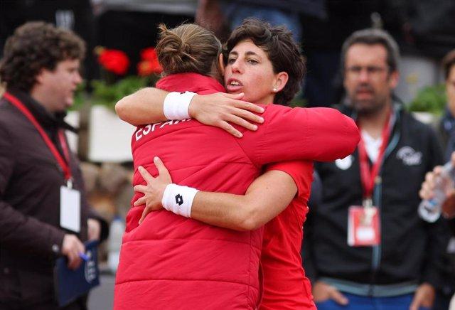 Carla Suárez y Anabel Medina en la Copa Federación