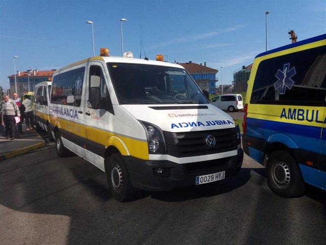 Ambulancias en el Hospital Clínico de Santiago.