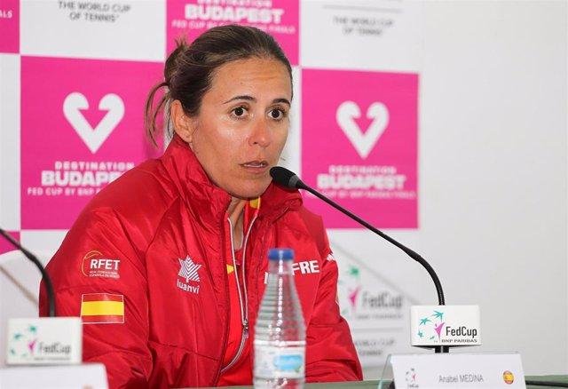 La capitana del equipo español de Copa Federación, Anabel Medina