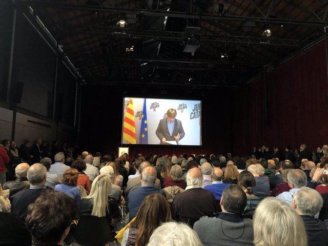 Intervención del expresidente de la Generalitat Carles Puigdemont en un acto de JxCat.