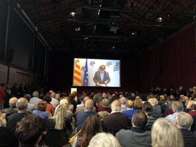 Intervenció de l'expresident de la Generalitat Carles Puigdemont en un acte de JxCat.