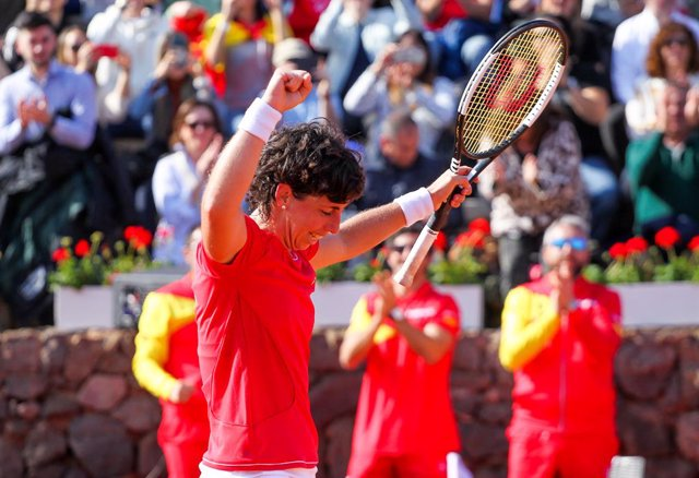 CARTAGENA, SPAIN - FEBRUARY 8: Carla Suarez of Spain celebrates during Fed Cup tennis match played between Spain and Japan at La Manga Club on February 8, 2020 in Cartagena, Murcia, Spain.