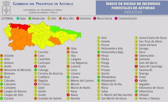 Riesgo de incendios en Asturias el domingo 9 de febrero de 2020