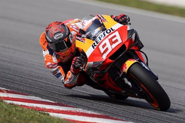 El piloto de MotoGP Marc Márquez (Repsol Honda) en el test de Sepang (Malasia) de 2020