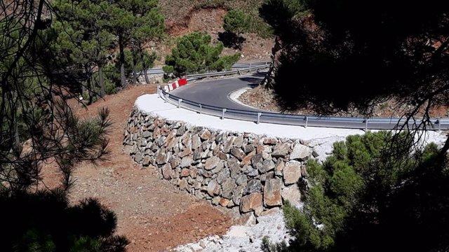 Carretera en la que la Diputación de Málaga ha realizado obras tras los temporales