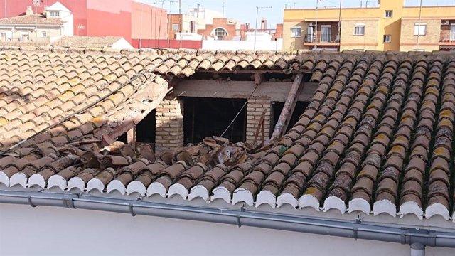 Tejado hundido en Aldaia (Valencia)