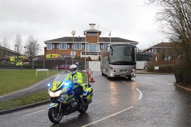Centro habilitado en Reino Unido para evacuados por el brote de coronavirus