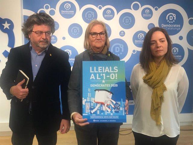Antoni Castellà, Núria de Gispert i Cristina Rúbies (Demòcrates), en roda de premsa aquest dilluns