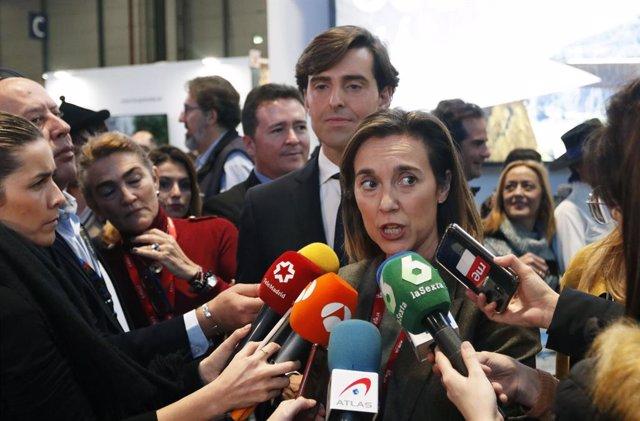 La diputada del PP per La Rioja, Cuca Gamarra , durant una intervenció als mitjans de comunicació en la Fira Internacional de Turisme. Madrid (Espanya), 23 de gener del 2020.