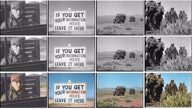Ejemplos de los resultados del modelo de IA con imágenes de vídeos antiguos.