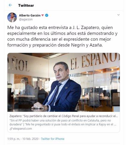 El PP se burla de Alberto Garzón por elogiar ahora a Zapatero cuando hace años le denostaba