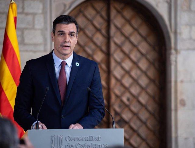 El president del Govern, Pedro Sánchez, en la Generalitat la setmana passada