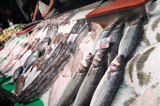 Recursos de pescadería, pescaderos, pescados, mariscos, de una imagen de archivo