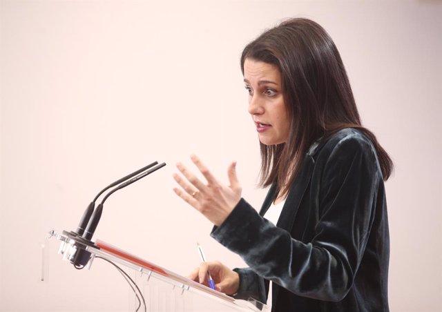 La portaveu de Cs al Congrés dels Diputats, Inés Arrimadas, en roda de premsa, Madrid (Espanya), 31 de gener del 2020.