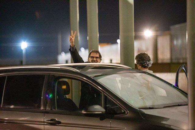 El president d'Òmnium Cultural, Jordi Cuixart, surt de la presó de Lledoners (Barcelona) amb un permís de 48 hores el 16 de gener del 2020.