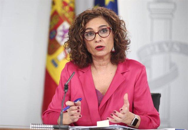 La ministra Portavoz y de Hacienda, María Jesús Montero durante la rueda de prensa tras el Consejo de Ministros en Moncloa, en Madrid (España), a 11 de febrero de 2020.