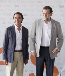 Mariano Rajoy y José María Aznar en la cita anual con el Campus FAES