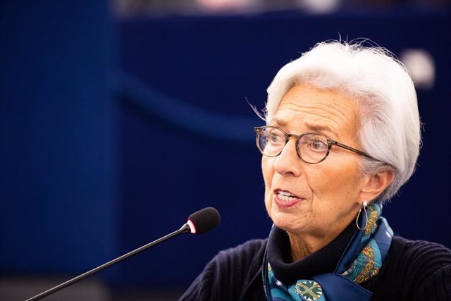 11 February 2020, France, Strasbourg: President of the European Central Bank (ECB) Christine Lagarde speaks during a plenary session of the European Parliament as she presents today in the European Parliament the ECB's Annual Report of 2018. Photo: Philip