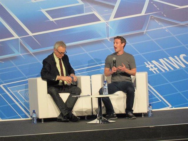 El fundador de Facebook, Mark Zuckerberg, en el MWC de 2014