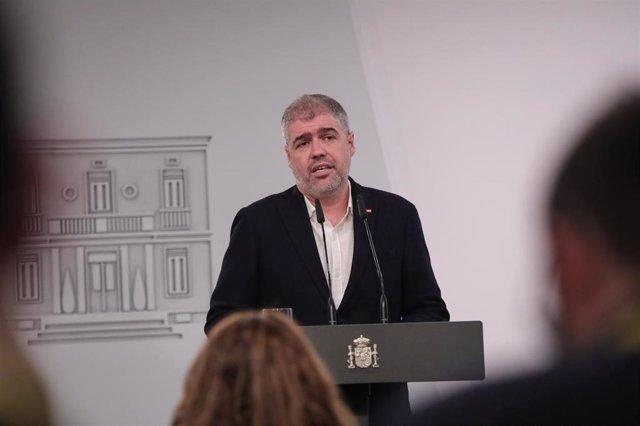 El secretario general de Comisiones Obreras (CCOO), Unai Sordo, en rueda de prensa tras la  firma el acuerdo de subida del Salario Mínimo Interprofesional (SMI), en La Moncloa /Madrid (España), a 30 de enero de 2020.