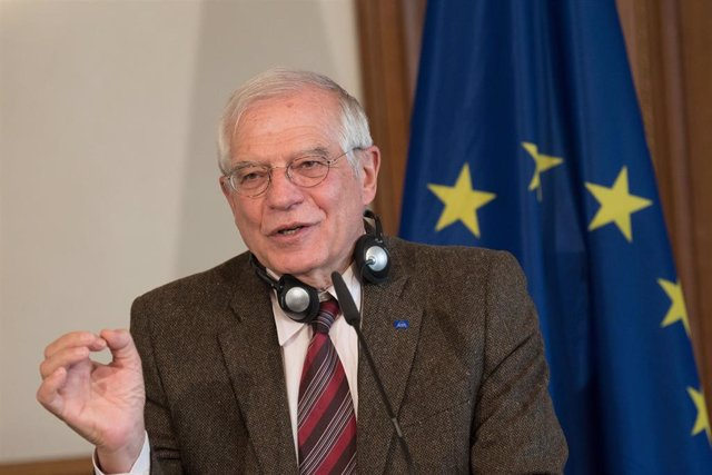 """FILED - 27 January 2020, Berlin: EUforeign policy chief Josep Borrell speaks during a press conference at Villa Borsig. Borrell slammed the United States' recently unveiled Middle East peace plan on Tuesday, arguing that it """"departs from"""" internationally"""