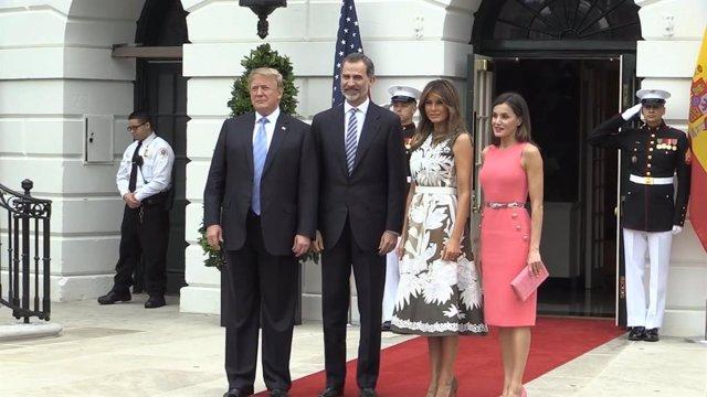 Els reis Felip i Letícia amb Donald i Melania Trump el juny del 2018  .