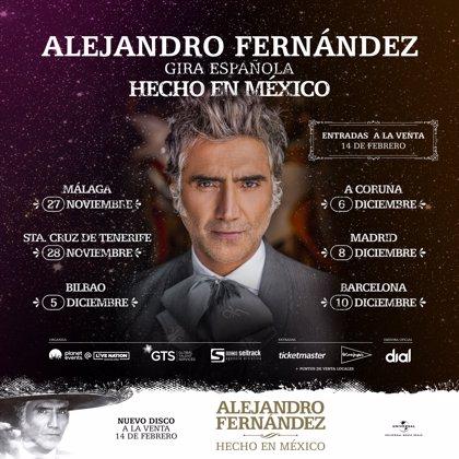 México.- Alejandro Fernández actuará el 6 de diciembre en el Coliseum de A Coruña
