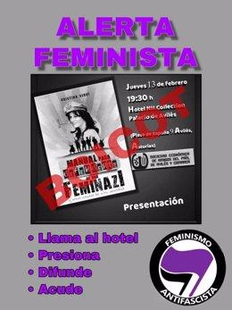 Cartel contra la presentación de un libro de Cristina Seguí en Avilés