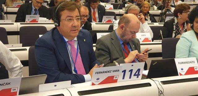 Fernández Vara en el pleno del Comité de las Regiones, en octubre de 2019