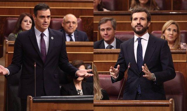 Pedro Sánchez y Pablo Casado en la sesión de control al Gobierno en el Congreso