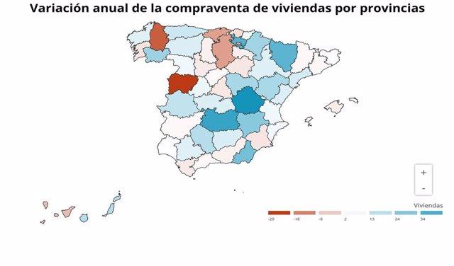 Gráfico de elaboración propia sobre la evolución de la compraventa de viviendas por provincias