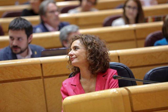 La ministra de Hacienda, María Jesús Montero, durante la primera sesión de control al Gobierno en el Senado