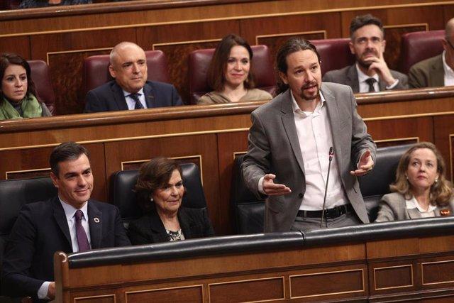 El vicepresidente segundo y ministro de Derechos Sociales y Agenda 2030, Pablo Iglesias, en la sesión de control al Gobierno en el Congreso