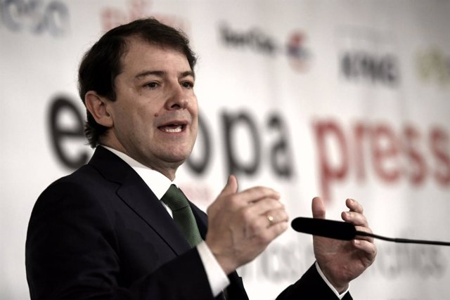 El president de Castella i Lleó, Alfonso Fernández Mañueco, intervé en un esmorzar informatiu d'Europa Press, Madrid (Espanya), 12 de febrer del 2020.