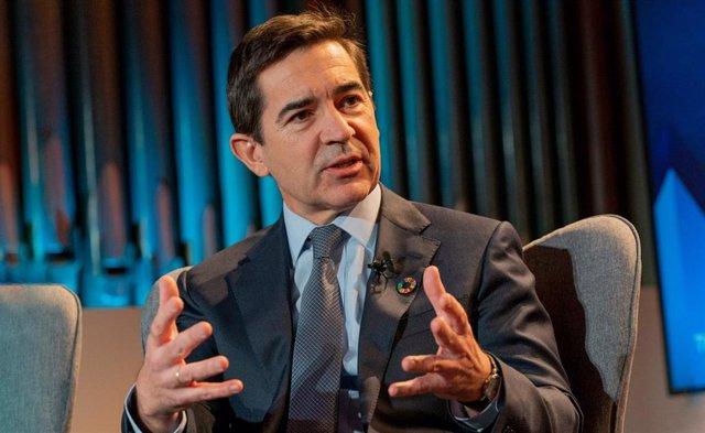 El presidente de BBVA, Carlos Torres Vila, durante el Foro de Davos en enero de 2020.