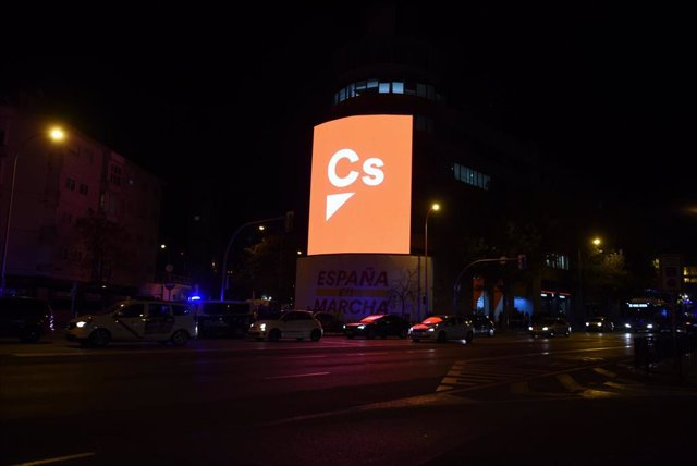 Sede del partido de Ciudadanos durante la noche electoral del 10N en Madrid (España), donde el partido sigue los resultados del escrutinio, a 10 de noviembre de 2019.