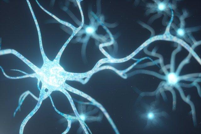 Conceptual illustration of neuron cells. Células gliales.