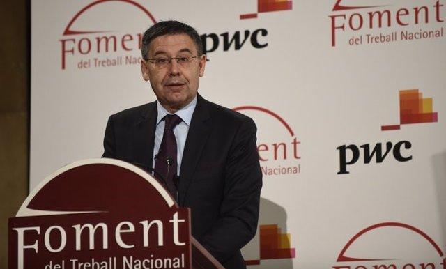 El presidente del FC Barcelona, Josep Maria Bartomeu, en un discurso en Foment del Treball