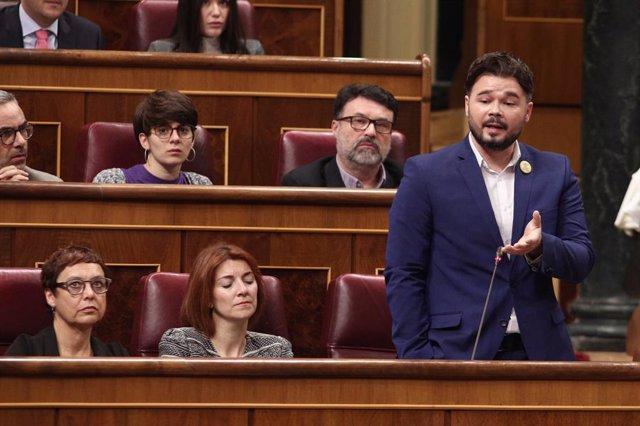 El portaveu d'ERC al Congrés dels Diputats, Gabriel Rufián, intervé durant el torn de preguntes al president del Govern central, Pedro Sánchez, en una sessió plenària al Congrés dels Diputats, Madrid (Espanya), 12 de febrer del 2020.