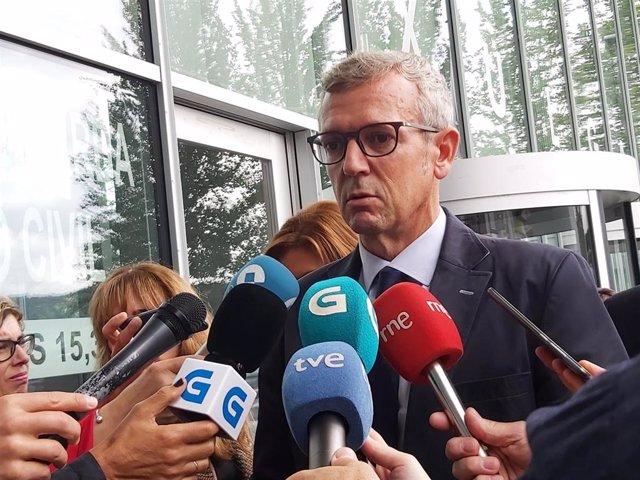 El vicepresidente de la Xunta, Alfonso Rueda, en los juzgados de Ourense.