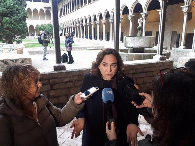 La alcaldesa de Barcelona, Ada Colau, en declaraciones a los medios el 12 de febrero de 2020.