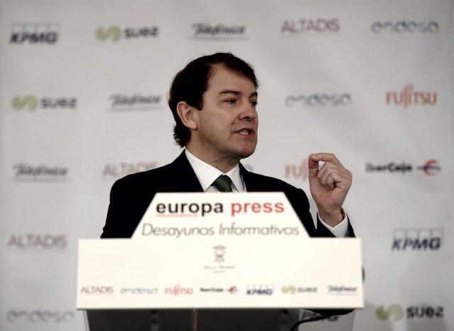 El president de Castella i Lleó, Alfonso Fernández Mañueco, intervé en un esmorzar informatiu d'Europa Press, a Madrid (Espanya), a 12 de febrer del 2020.