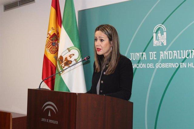 La delegada de la Junta de Andalucía en Huelva, Bella Verano, en rueda de prensa